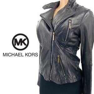 Michael Kors Leather Zip Motor Biker Jacket